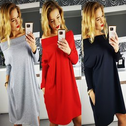 Barato Barato Senhora Vestidos De Inverno-Casual Lady Dresses Middle Long Sleeves Losse Strapless Slash Preto Cinza Outono Saia de inverno New Fashion Cheap Price Hot Sale female Outfit
