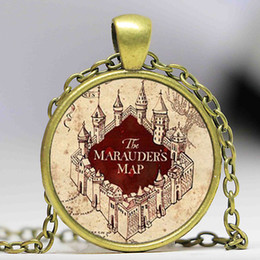 harry glasses UK - Free shipping Hot Sale Harry Marauder's Map Silver Glass Dome Necklace