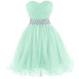 df0e19fac Vestidos de fiesta corto verde menta Tulle Sweetheart una línea de cintura  moldeada Mini Prom Cocktail Party vestidos imagen real