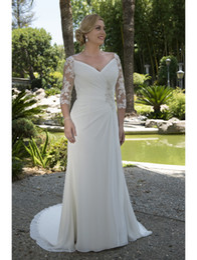 9660e0b630d Lace Chiffon Informal Modest Wedding Dresses Modest 2017 Ruched Long A-line  Reception Bridal Gowns For Full Figure Women Bride