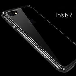 7cae825a963 Para iPhone 7/7 Plus Funda de metal Marco de parachoques de aluminio a  prueba de golpes de lujo + Funda transparente para PC