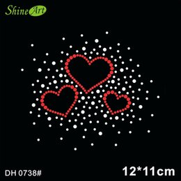 rhinestone hotfix heart NZ - Free shipping 3 Heart Motif Sell Retail rhinestone transfer supplies hotfix iron on motifs Free Shipping DH0738#