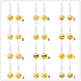 925 посеребренные Emoji лицо серьги улыбка выражение времени драгоценный камень стекло кабошон серьги ювелирные изделия для женщин девочка дети