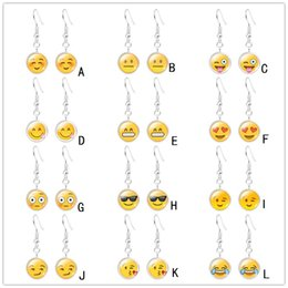 Chinese  925 Silver Plated Emoji Face Earrings Smile Expression Time Gem Glass Cabochon Earrings Jewelry for Women Girl Children manufacturers