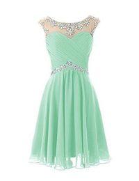 8b68345e9bc4 Knee Length Prom Chocolate Dress UK - Knee Length Cute Mint Sheer Crew Neck  Prom Dresses