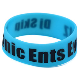 Glow Dark Bands Canada - Wholesale 50PCS Lot Sonic Ents Eventz DJ Skip Silicone Wristband 1 Inch Wide Band Glow In Dark