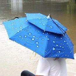 camping hiking hats 2019 - Sun Umbrella Cap Outdoor Large Double-deck Cycling Fishing Hiking Beach Camping Sunshade Folding Sunny Rain Anti-UV Umbr