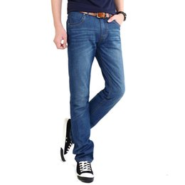 China Wholesale-Sky Blue Soft Cotton Loose Version Big Size Straight Designer Men's Jeans Hot Sale All Match Jeans For Men,Biker Jeans For Men supplier sky blue jeans suppliers