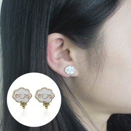Boucles D'oreilles Clips Pour Enfants Pas Cher-Sweet Cloud Smiley Face Boucles d'oreilles pour les femmes Cartoon Clouds Smile Ear Cuff Earcuff Cartoon Kids Clip On Earrings 2017 Fashion Jewelry Brincos