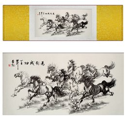 Oil Pictures Silk NZ - 1 Piece Running Horse Home Office Decoration Chinese Scroll Silk Wall Art Poster Picture Painting For Living Room