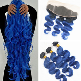$enCountryForm.capitalKeyWord Canada - Virgin Malaysian Ombre Hair With Lace Frontal Two Tone 1B Blue Ombre Body Wave Virgin Hair Bundles With Lace Frontal Closure