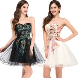 Barato Menina Vestido Escola Sexy-Stock Curto Cheap Homecoming Vestidos para meninas Special Occasion Back to School Tulle Lace up Sexy Sweetheart Black Cocktail Prom Gowns