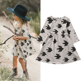 Vêtements Pour Bébés Pour L'été Pas Cher-2017 Toddler Kid Clothing Baby Girls Swallow Parttern Dress Skirt Robe décontractée Vêtements d'été 2-7 ans