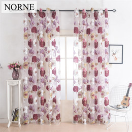 living curtains NZ - Norne Drapes Grommet Sheer Curtains Window Panel for Living Room the Bedroom Kitchen Modern Tulle Curtains Floral Pattern Fabric Blinds