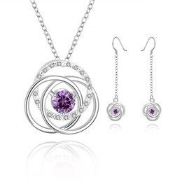 $enCountryForm.capitalKeyWord Canada - wedding More o mosaic sterling silver plated jewelry sets for women DS752b,popular 925 silver necklace earring jewelry set
