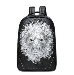 High Quality Backpack Brands Canada - wholesale brand personality 3D stereo package of high quality leather backpack punk man Lion Travel Backpack stereo lion cool schoolbag