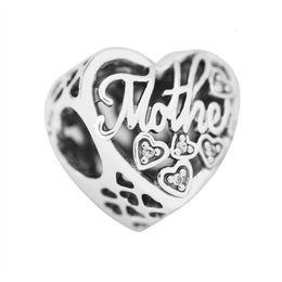 248cb9ecb0ac Día de la madre regalo madre hijo Bond encantos auténticos 925 joyería de  plata esterlina granos del corazón para DIY marca pulseras que hacen  accesorios