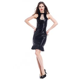 7afb3b6c1eab Sexy wet look mini dreSSeS online shopping - Sexy Gothic Mermaid Dress  Sleeveless Lace Up Chest