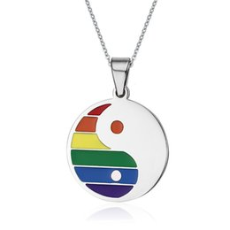 $enCountryForm.capitalKeyWord Canada - Fashion Women Men Rainbow Necklaces& Pendants Jewelry Tai Chi Bagua Design Stainless Steel Pendants PPN-027