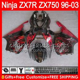 KawasaKi ninja 7r online shopping - 8Gifts Colors For KAWASAKI NINJA ZX7R TOP red black NO36 ZX750 ZX R ZX R Fairing