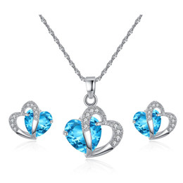 blue purple crystal necklace NZ - White Gold Color Double Hearts Cut Purple Blue Zircon Stone Clear Crystals Stud Earrings Pendant Necklace Jewelry Sets for Women