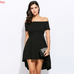 Mode Mode Féminine Pas Cher-Robe féminine Irrégulière à manches courtes Vêtements pour dames Mode Off Shoulder Solid Europe Style Mini Swallowtail A-line Party Dress SVH032264