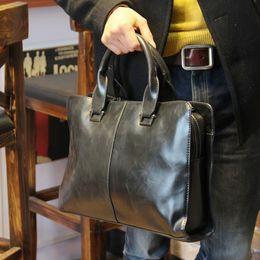 Laptop Chain NZ - Wholesale- New 2015 Crazy horse PU leather briefcase computer Laptop Bag brand Business handbag Men Travel Bags Retro Briefcase brown black