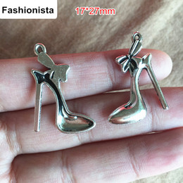 $enCountryForm.capitalKeyWord NZ - Fashion Jewelry 100 pcs Antique Silver Plated High-heel Shoe Charms 17*27mm Alloy Metal Lady's Shoe Fit DIY Jewelry