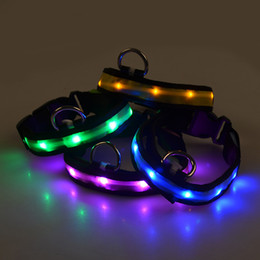 Small Cartoon Design NZ - G05 New design Pet Led Collar Nylon luminous Puppy Small dogs Cats collar Light Safety Traction for Chihuahua