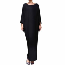 Barato Casual Vestido Preto Longo Praia-YJSFG HOUSE 2017 Casual Vintage Mulheres Batwing Sleeve Long Evening Party Dress Sexy O-neck Long Boho Beach Dress Preto Azul Cinza q170669