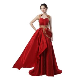 Discount robe soiree courte - Muslim Prom Dress 2017 Robe De Soiree Courte A Line Beaded Long Red Evening Dress Dubai Evening Dresses