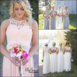 af76cada31a rustic gold bridesmaid dresses 2019 - Hot Country Style Bridesmaid Dresses  2018 Jewel Neck Top Lace