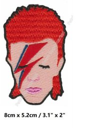 """Chinese  3.1"""" David Bowie Face Red Hair Iron On Patches ROCK PUNK DIY Embroidered badge rockabilly music band pop electronic experimental manufacturers"""