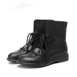 Vintage Lace Up Boots UK - 2017 Women Shoes Spring Female Patent Leather Fashion Boots Solid Lace-Up Handmade Vintage Elegant