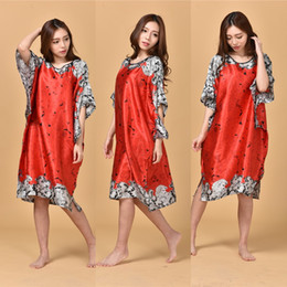 $enCountryForm.capitalKeyWord NZ - A1687 Time-limited Summer Style Women Nightgown 2016 Sleepwear Plus Size Indoor Clothing Faux Silk Robe Home Bathrobe