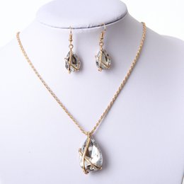 Name Plate Jewelry Sets Canada - Big name foreign trade accessories, explosion models, water drops, jewelry necklaces, earrings sets, European and American jewelry manufactu