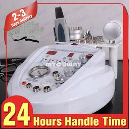 Cabezas De Diamante Dermoabrasión Baratos-Últimos 7in1 DIAMOND DERMABRASION BIO Guantes 2 cabezales ultrasonidos Microcurrent Skin Scrubber Beauty Machine para uso doméstico