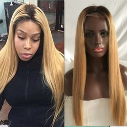 Color Lace Wig NZ - Ombre Honey Blonde Color 1B 27 Thick Glueless Full Lace Human Hair Wigs Brazilian Straight Lace Front Wig For Black Women