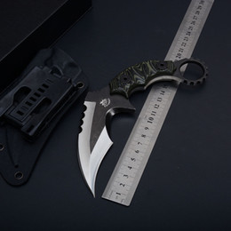 hunting knives fixed Canada - 2017 The One Claw Karambit D2 Fixed Blade Knife G10 Handle Outdoor Tactical Camping Hunting Survival Pocket Knife Collection Gift EDC Tool