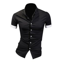Mens Shirt Lined Collar Canada - Wholesale- TFGS Summer Mens Dress Shirts Plaid Hit Color Edging Lined with Stripes Slim Fit Short sleeved Shirts