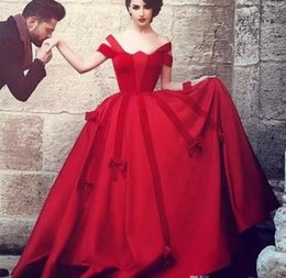 Discount gothic art pictures - 2018 New Custom Vintage Saudi Arabic Red Gothic Prom Dresses Off the Shoulder Dubai Ball Gown Non White Colorful Evening
