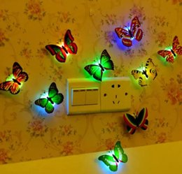 fiber optic night light lamp NZ - LED Night Light 3W LED Butterfly Dragonfly Stick-On Lamp Wall Light Colorful Fiber Optic Night Lights Halloween Christmas Decorations 2017