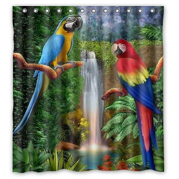 Parrots Waterfall Design Shower Curtain Size 165x180 Cm Custom Waterproof  Polyester Fabric Bath Shower Curtains