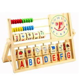 Venta al por mayor de Venta al por mayor- Madera Montessori Alfabeto Fruta Juguete de aprendizaje digital Bebé Juguete del ábaco chino de múltiples funciones Reloj Juego Regalo JSB023