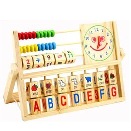 baby alphabet learning 2018 - Wholesale- Wooden Montessori Alphabet & Fruit & Digital Learning Toy Baby Chinese Abacus Toy Multi-function Clock Game G