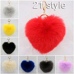 cartoon shape women bags Australia - 4.7 Inch Hear Shape Rabbit Fur Ball Charm Key Chain Car Keyring Bag With Gold Keyring Novelty Women Gift 21 Color C133L