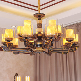 modern chinese lanterns Canada - Modern Chinese style high-end chandelier lights lanterns zinc alloy Chinoiserie creative decorative led chandeliers lighting pendant light