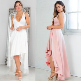Barato Desconto Rosa Quente Vestidos-2017 New Fund Sell Like Hot Cakes Pure Color Irregular Sexy Party Evening Dress Branco V Stereo Clipping PInk Spot Discount Store