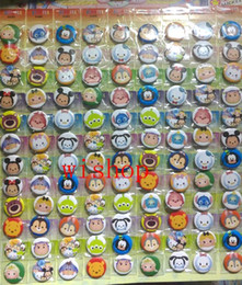 Popular Kids Clothes Canada - Wholesale- New 108pcs set Popular Cartoon Tsum Pin Badges,Round Brooch Badge Kids Clothing Accessories 2.5cm Free Shipping po20