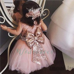 Flower Girl Kids Frock Canada - 2017 Cute Pink Sheer Lace Back Toddler Flower Girl Dress Kids Evening Prom Ball Gown Tea Length baby 1 Year Birthday Party Frock